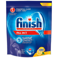 Таблетки для посудомоечных машин Finish All in 1 с ароматом лимона, 65 таблеток