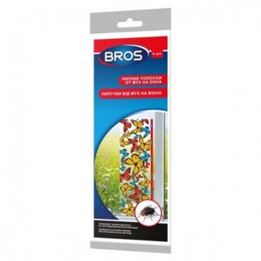 Bros (Брос) липкая полоска от мух и фруктовых мошек на окно, горшки, 4 шт