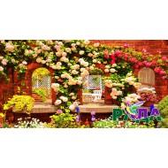 """Фотосетка для декора забора """"Двор в цветах"""""""